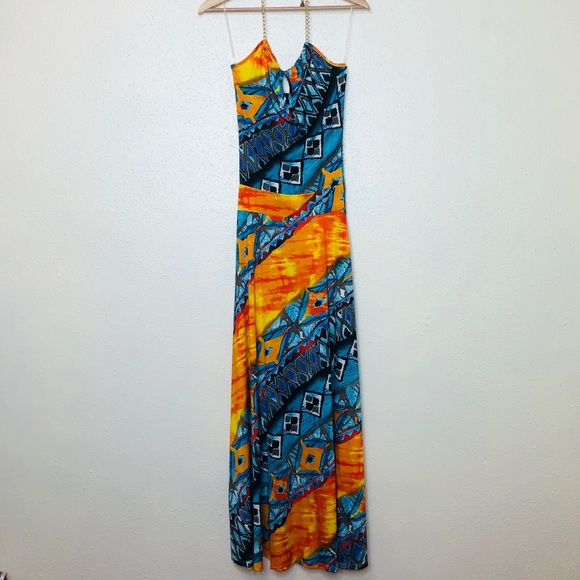 Maria & Kyndal's Dresses & Skirts - Maria & Kyndal's Printed Chain Halter Maxi Dress